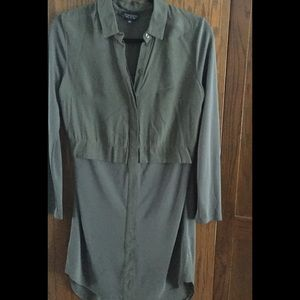 Topshop olive long-sleeved dress, size Small